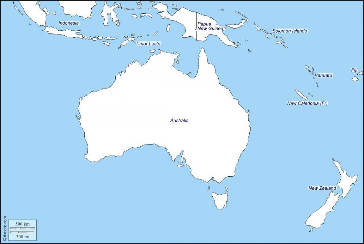 ניו זילנד Update: Mapa Konturowa Australii I